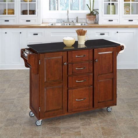 cherry kitchen island cart home styles nantucket black kitchen island with granite top 5033 94 the home depot