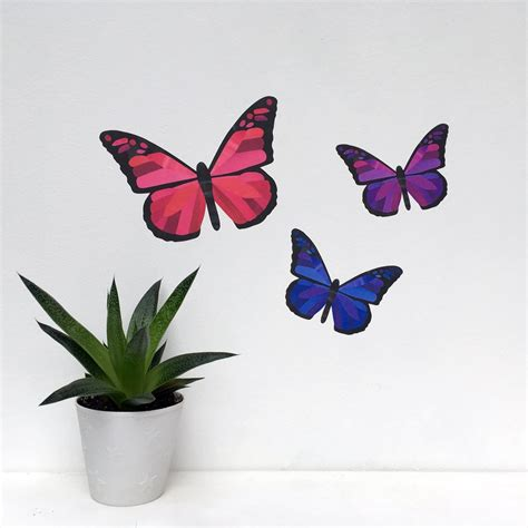 purple wall stickers pink and purple butterfly wall stickers chameleon wall