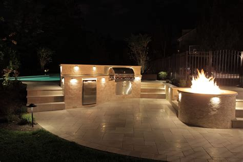 outdoor kitchen lights outdoor kitchen and curved deck rusk enterprises llc