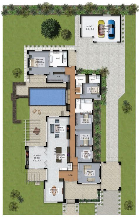 small pool house floor plans floor plan friday luxury 4 bedroom family home with pool