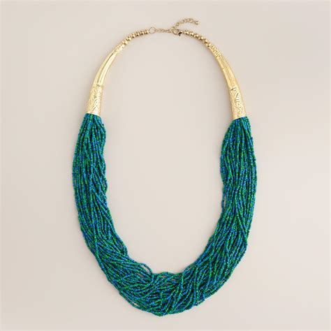 Green Turquoise And Gold Seed Bead Necklace World Market