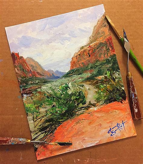 zion acrylic painting hike to emerald pools at zion national park 12x9