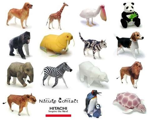 animal paper crafts animal papercrafts hitachi nature contact paperkraft