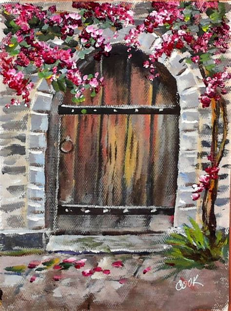acrylic painting door door with flowers live lesson