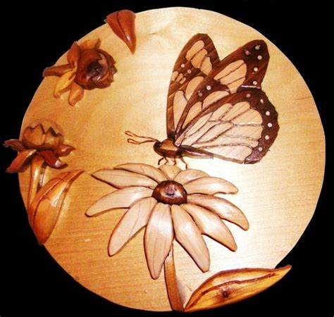butterfly woodworking butterfly on a flower 55 00 intarsia