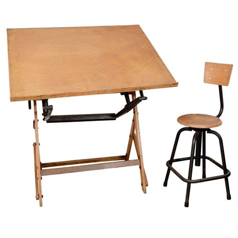 drafting table stool antique wood drafting table and stool at 1stdibs