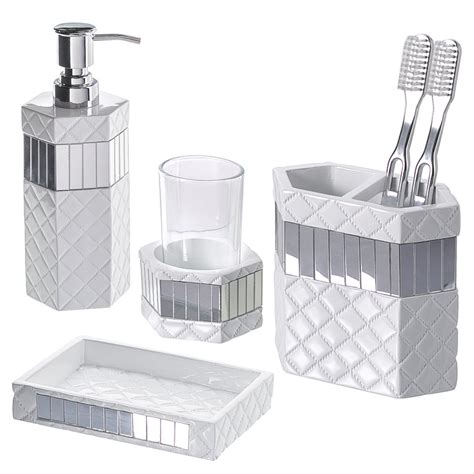 bathroom accessory set 4 quilted mirror bathroom accessories set with soap