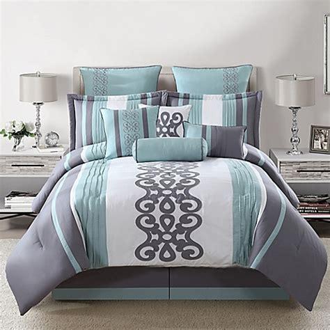 silver bedding set kerri 10 comforter set in teal silver white bed