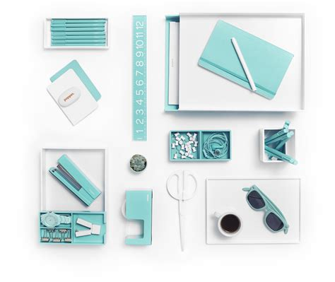 office supplies for desk white with pops of aqua is day at the poppin