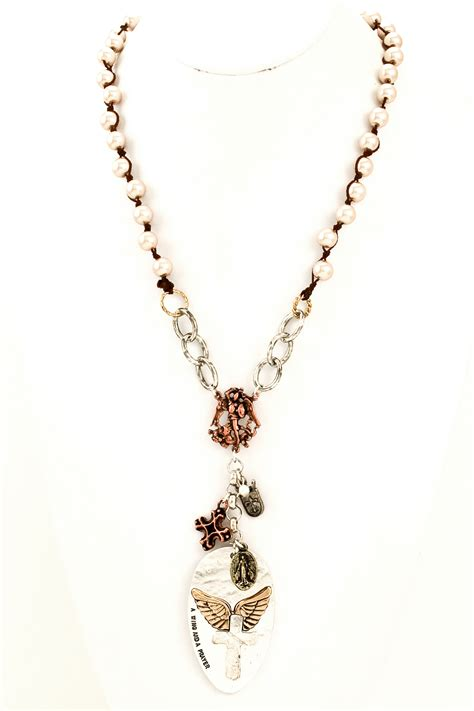 bead cross necklace beaded pearl cross pendant necklace necklaces