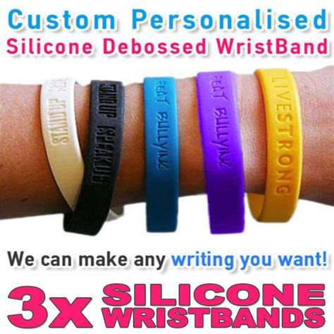 buy custom rubber sts charity personalised wristband silicone debossed