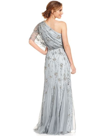 one shoulder beaded blouson gown papell oneshoulder beaded blouson gown in gray lyst