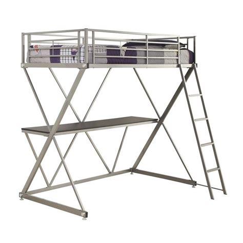 workstation bunk bed coaster workstation loft bunk bed with desk in silver