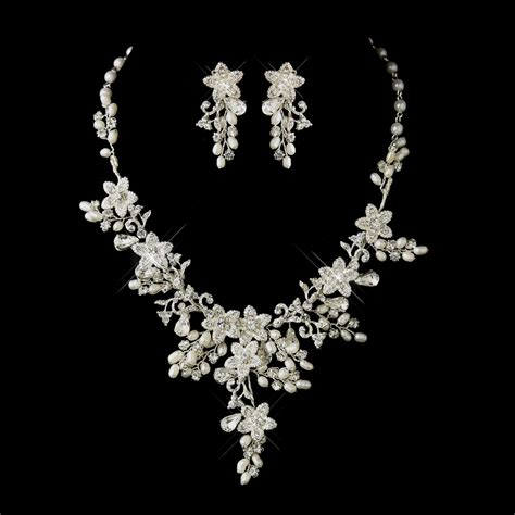 jewelry set glamorous pearl rhinestone floral bridal jewelry sets