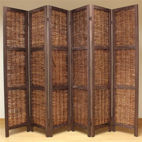 wicker room divider brown 6 panel wood frame wicker room divider privacy