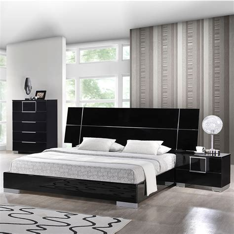 black gloss bedroom furniture sets hailey bedroom set in high gloss black dcg stores