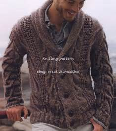 mens chunky knit sweater 536 chunky knitting pattern for mens cable cardigan ebay