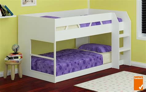 on bunk beds low line single bunk bed white