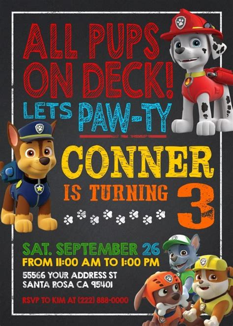 ideas for birthday invitations homemade 25 best ideas about paw patrol invitations on pinterest