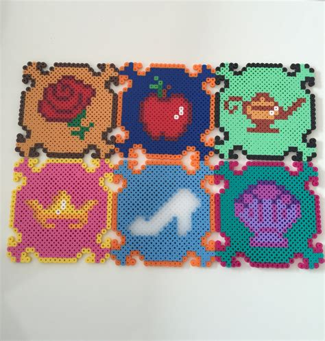 perler disney disney princess perler bead coasters set of 6 on storenvy
