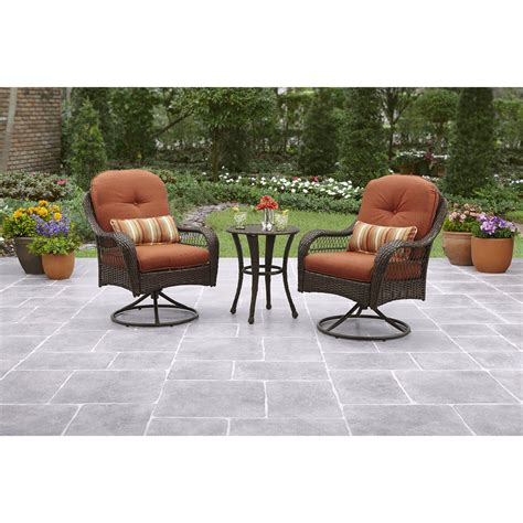 bistro table sets outdoor furniture 3 bistro set 2 swivel patio chairs and table wicker