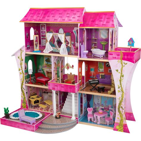 kid craft doll house kidkraft sparkle wooden dollhouse with 30 pieces of