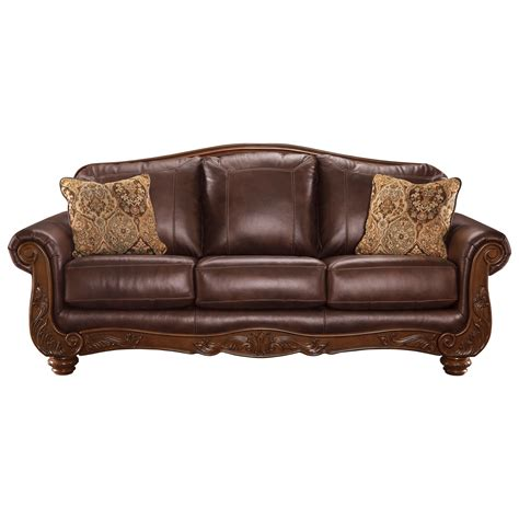 traditional leather sofas signature design by mellwood traditional leather