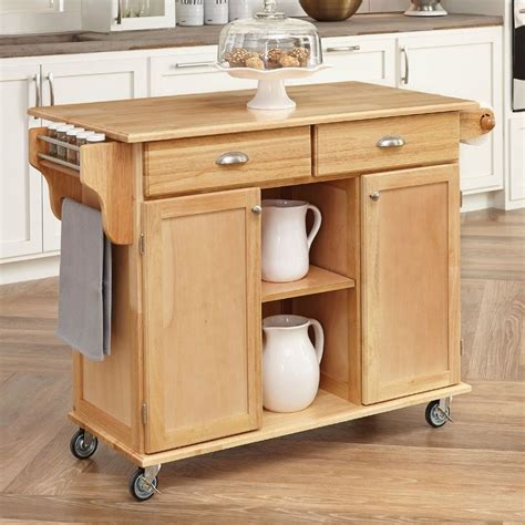 kitchen island cart with seating shop home styles brown scandinavian kitchen carts at lowes