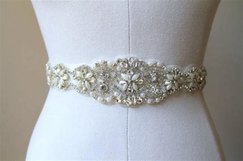 beaded bridal belt bridal beaded pearl sash rhinestone applique