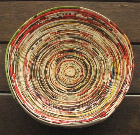 recycled paper craft magazine crafts recycled paper coiled into a bowl