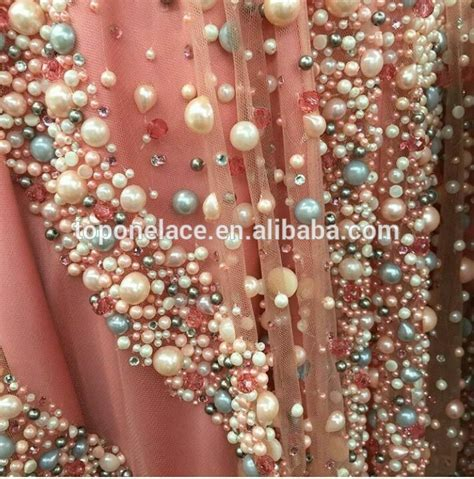 pearl beaded fabric made heavy beaded and all pearl lace fabric with