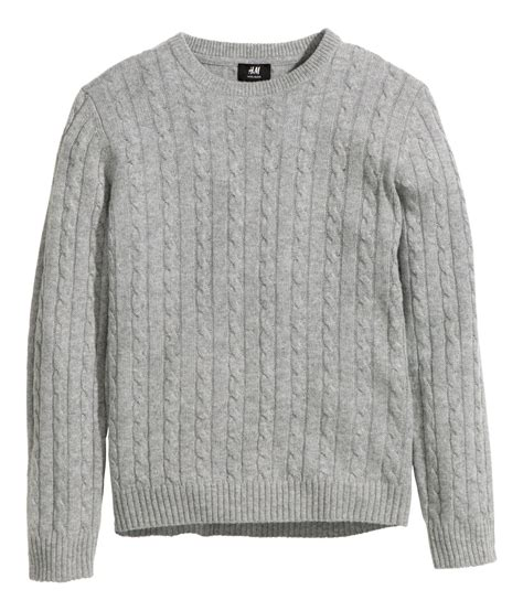 knit sweat h m wool blend cable knit jumper in gray for lyst