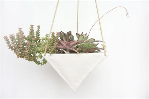 white hanging planter large white porcelain hanging triangular planter made to