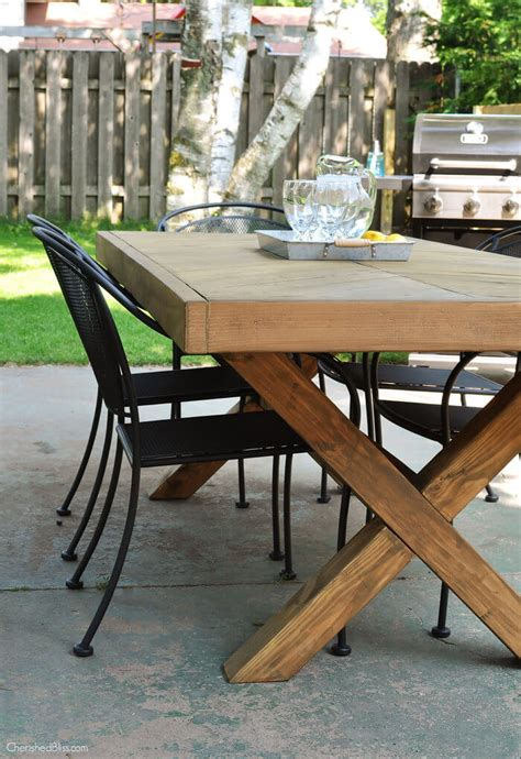 diy patio table plans outdoor table with x leg and herringbone top free plans