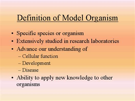 the definition of definition of model organism