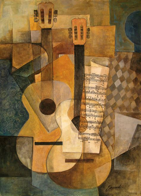 picasso paintings with musical instruments la guitarra original cubist painting by emanuel ologeanu