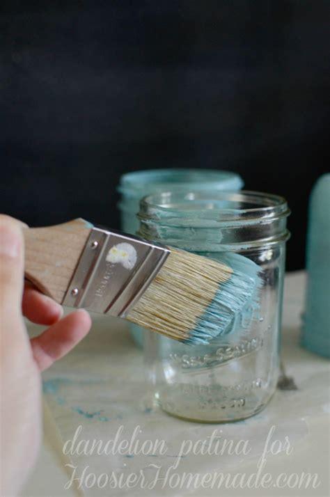 chalk paint glass jars chalk paint jars dandelion patina