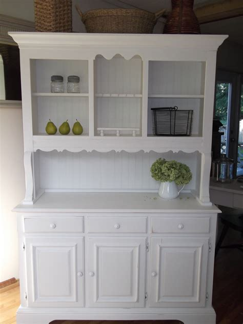 white kitchen hutch cabinet shabby cottage country farmhouse white hutch