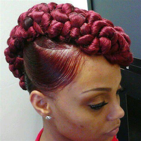 hair pieces to wear with fo hawk hairstyle burgundy red braided mohawk hair body hair stuff
