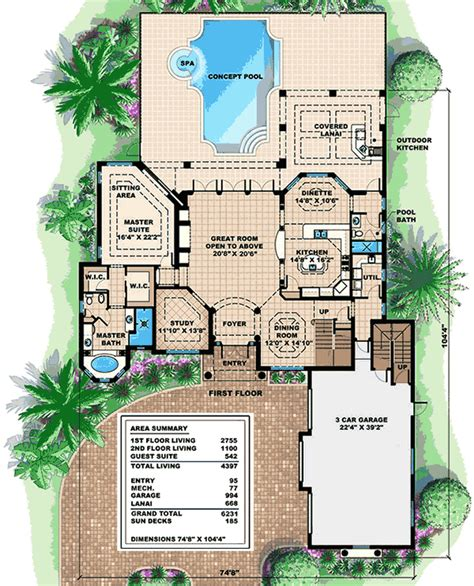 house plans with inlaw apartment mediterranean house plan with in apartment 66335we 1st floor master suite cad available