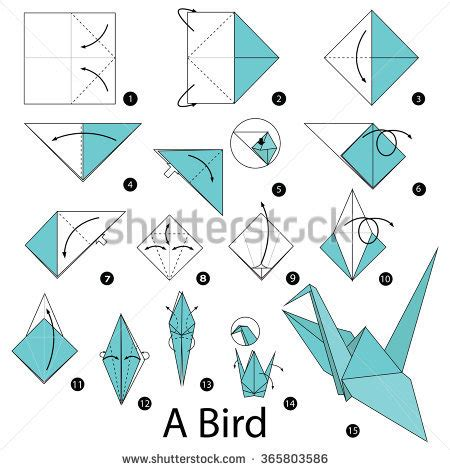 how to make a bird with origami step by step how make stock vector 365803586
