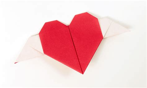 origami hearts with wings paperized crafts