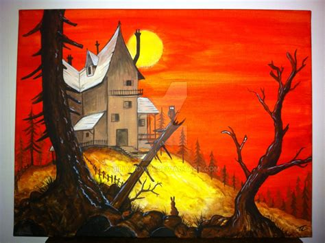 Acrylic On Canvas Painting Haunted House Sunset By