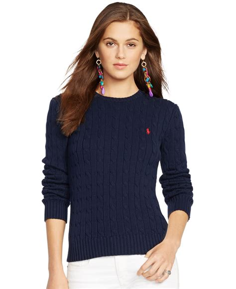womens ralph cable knit sweater polo ralph crew neck cable knit sweater in blue lyst