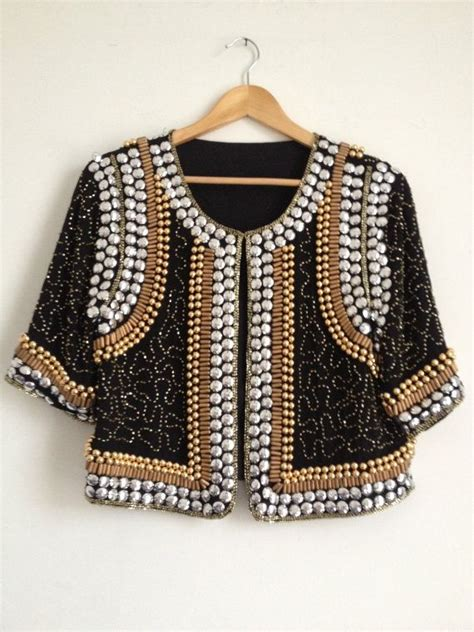 beaded jacket gold and silver sequin beaded jacket sequin jacket by