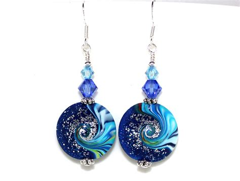 handmade beaded earrings swirling handmade bead and earrings felt