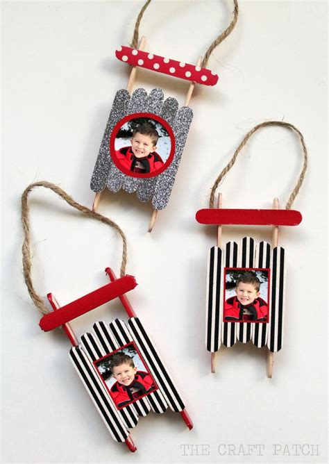 crafts for to make for parents popsicle stick sled ornament with photos craft