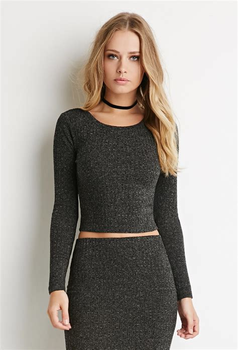 knit crop tops forever 21 ribbed knit crop top in gray lyst
