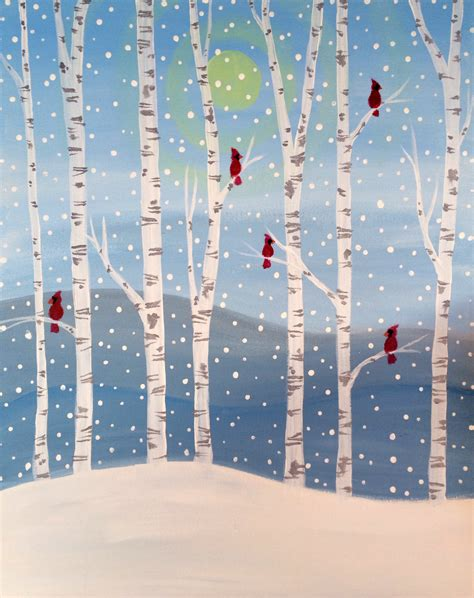 paint nite winter winter birch forest at kyoto tewksbury paint nite events