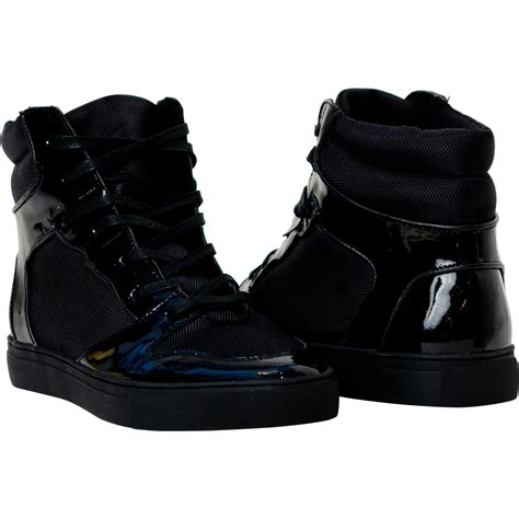 leather high top shoes for black patent leather high top sneakers paolo shoes
